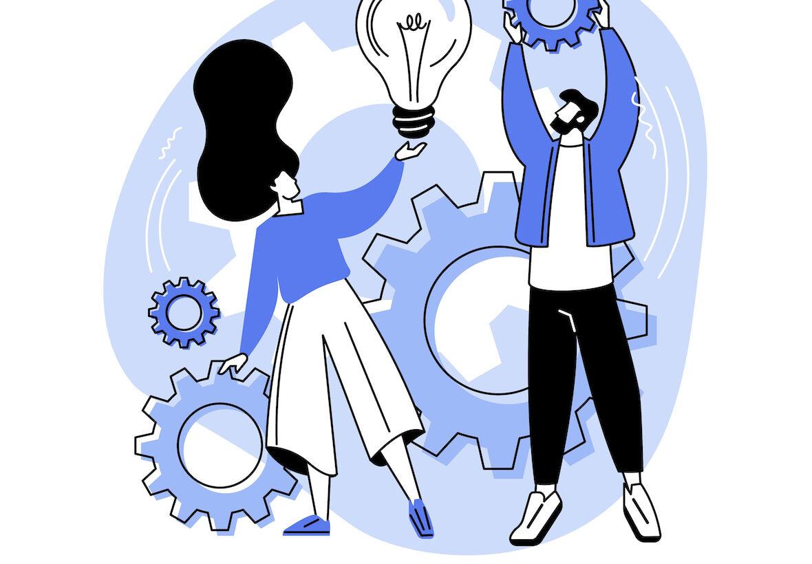 Illustration av två personer med kugghjul och glödlampor.