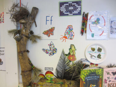 Teckningar och bilder på väggen med bokstäver och figurer.