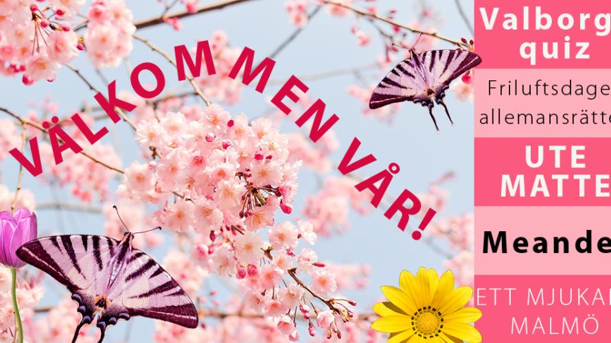 blommor och fjärilar och texten: Välkommen vår!