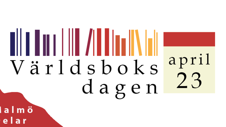 """Bilden visar texten """"Världsboksdagen"""" och almanacka samt bokryggar."""