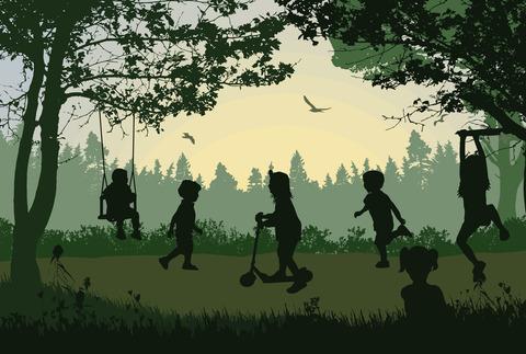 Illustration av barn som leker i ett skogsbryn.