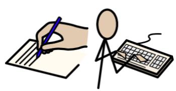 Illustration av hans som skriver på ett papper och en person som skriver på ett tangentbord.