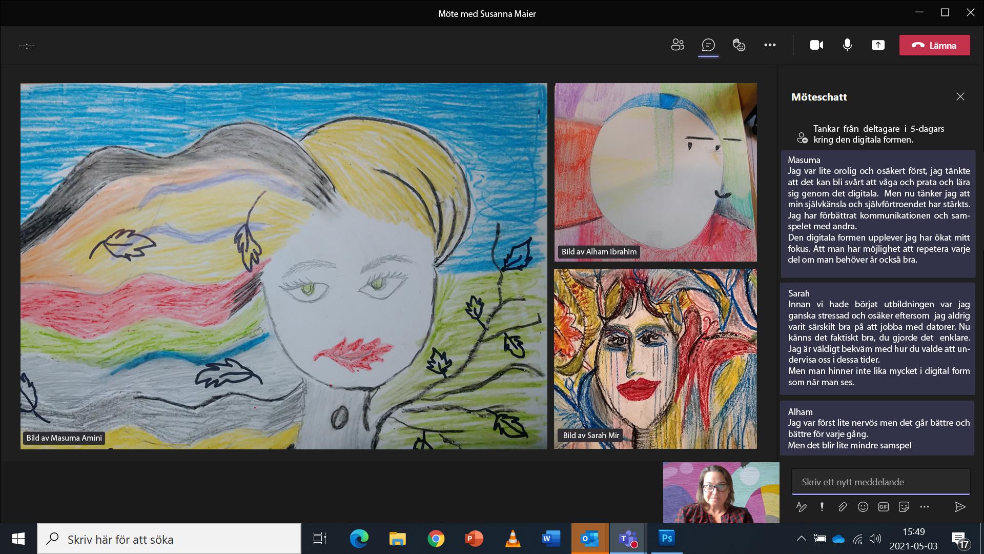 Tecknade porträtt av kursdeltagare.