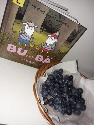 Bilden visar ett bokomslag på Bu och Bä i skogen samt en skål med blåbär.
