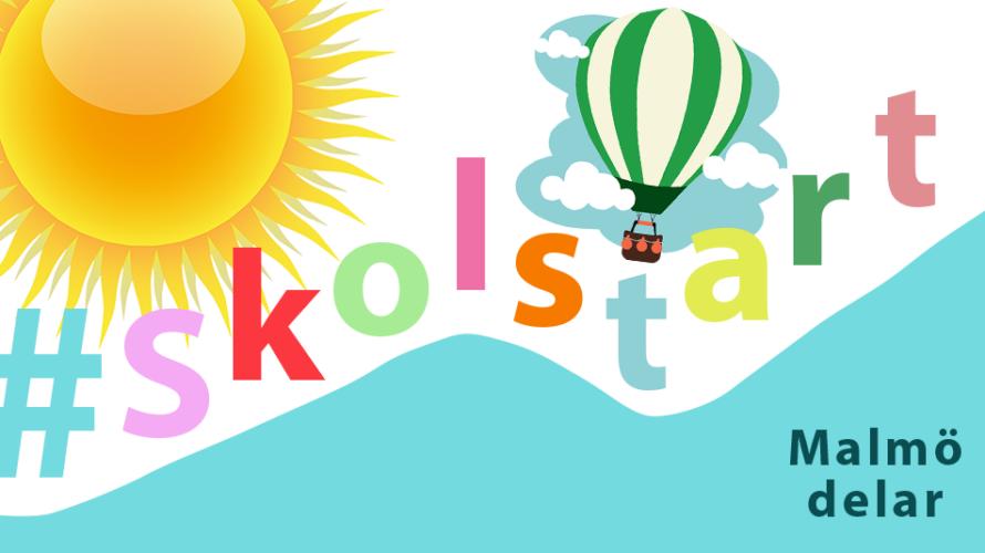 Kollage med sol och luftballong och texten #skolstart och Malmö Delar