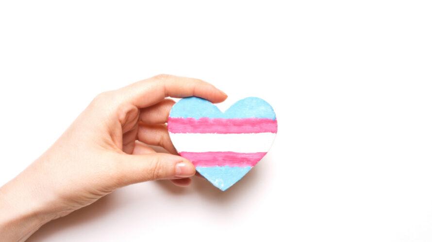 Ett hjärta med transflaggan på.