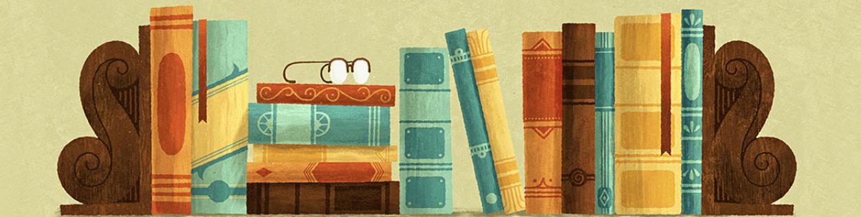 Tecknad bild av böcker i bokhylla.