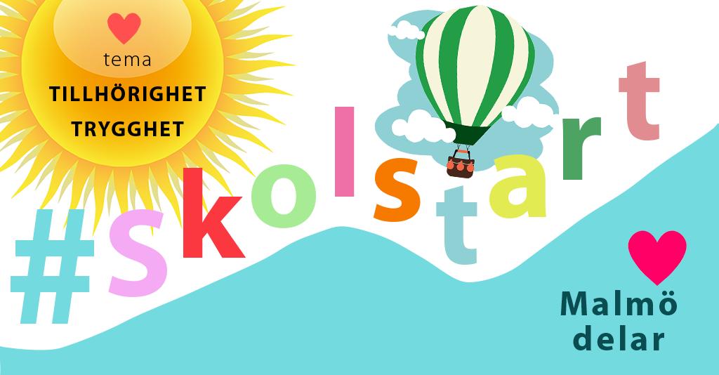 En sol och en luftballong och texten skolstart.
