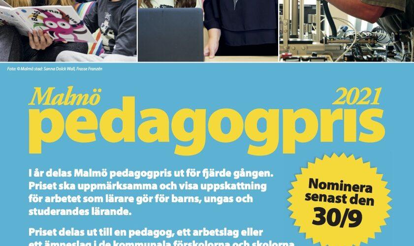 Affisch för Malmö pedagogpris 2021.