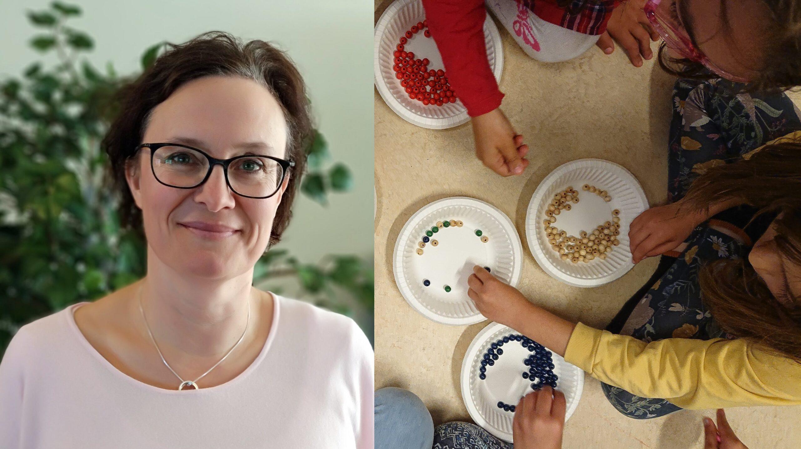 Porträttbild på Maria Asklund och bredvid en bild på barn som sorterar färgglada knappar.