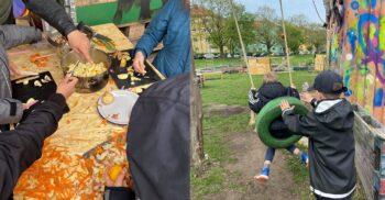 Montage av två bilder, en med barn som hackar morötter, bredvid gungar ett barn ett annat på en däckgunga.