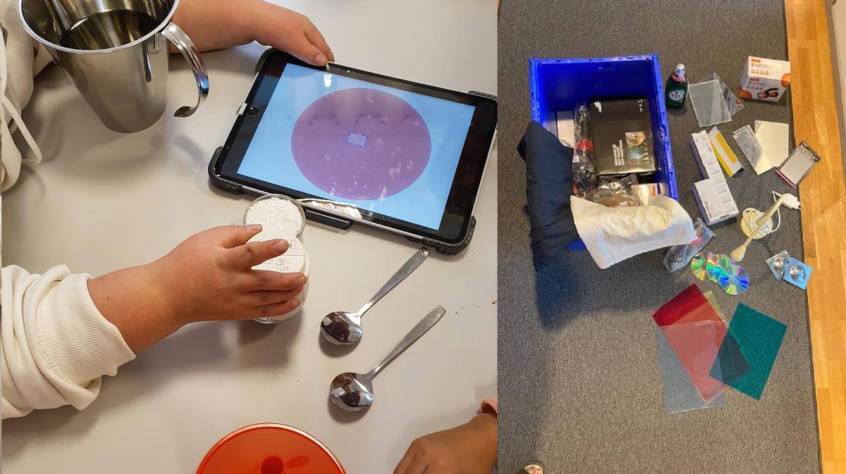 En pedagogs hand håller i en läsplatta under ett experiment. En blå låda med material för olika experiment.
